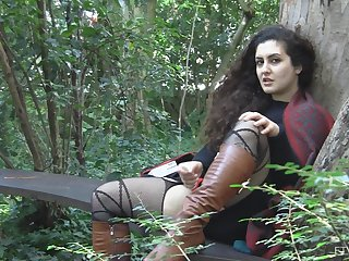 Outdoor clothed masturbation opportunity with Lili increased by her toys