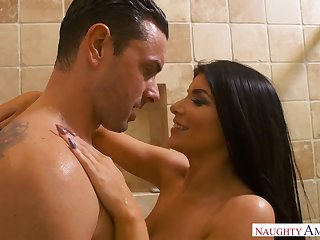 Romi Rain is a curvy black-haired claw nymph who loves to rail rock rock-hard spunk-pumps