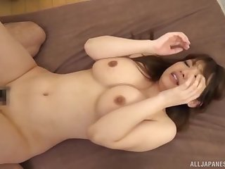 Well-endowed Japanese MILF squeezes say no to tits as A she gets say no to pussy creamed
