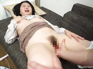 Asian mature screams when the dick hits the brush hard