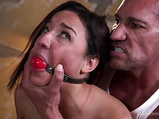 Man gags her in good shape roiled fucked her in both holes