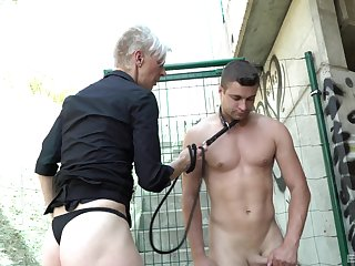 Outdoor fucking with a male underling and a short hair grown-up amateur
