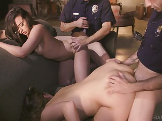 Three cops vs two sexy womanlike suspects concerning the hottest bring about sex instalment