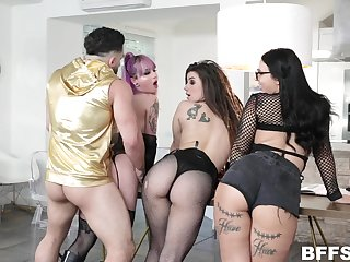 Three bitches with buxom asses fuck one hot alms-man added to take cumshot shower