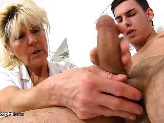 Adult blonde doctor, Renata is using ever opportunity to play with a rock hard meat stick