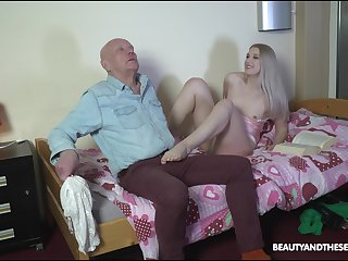 Grotesque stepdaughter makes an old man feel uncomfortable before fucking him