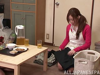 Good looking brunette Japanese fucked in mouth and sweet puss