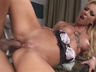 Skinny maid Angelina Love grinds dong on touching pierced cunt