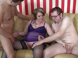 Slutty German wife spreads her legs to be fucked by two dudes
